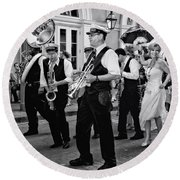 Bourbon Street Second Line Wedding New Orleans In Black And White Round Beach Towel