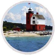 Round Island Light House Michigan Round Beach Towel