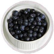 Bowl Of Blueberries Round Beach Towel