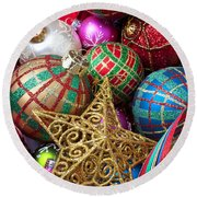 Box Of Christmas Ornaments With Star Round Beach Towel