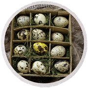 Box Of Quail Eggs Round Beach Towel