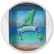 Boxing The Compass Round Beach Towel