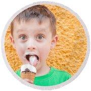 Boy Having Ice Cream Round Beach Towel