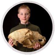 Boy Holding Kodiak Bear Skull Round Beach Towel