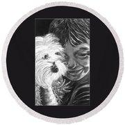 Boy With Pet Dog Round Beach Towel