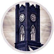 Boyertown Clock Tower Round Beach Towel