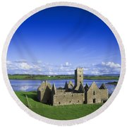 Boyle Abbey, Ballina, Co Mayo Round Beach Towel