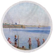 Boys At Water's Edge Round Beach Towel