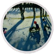 Boys Sledging Round Beach Towel