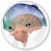 Brain In Skateboard Helmet Round Beach Towel