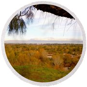Branch Over River Bed Round Beach Towel