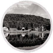 Brant Lake Reflections Black And White Round Beach Towel