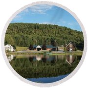 Brant Lake Reflections Round Beach Towel