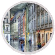 Bratislava Rainy Day In Old Town Round Beach Towel