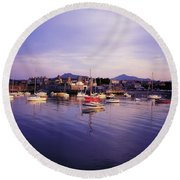 Bray Harbour, Co Wicklow, Ireland Round Beach Towel
