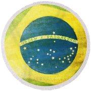 Brazil Flag Round Beach Towel by Setsiri Silapasuwanchai