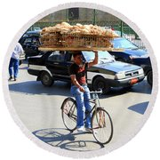Bread On A Bicycle Round Beach Towel