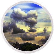 Break In The Clouds Round Beach Towel