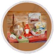 Breakfast At Copper Skillet Round Beach Towel