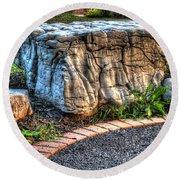 Brenda's Boulder At Dawn Or Altar In The Garden Round Beach Towel