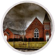 Brick Church Round Beach Towel
