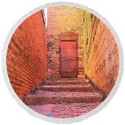 Old Stairs - Bisbee Az Round Beach Towel