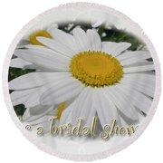 Bridal Shower Invitation - White Ox Eye Daisy Round Beach Towel