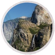 Bridal Veil In The Distance Round Beach Towel