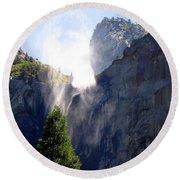 Bridalveil Falls In Yosemite Round Beach Towel