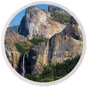Bride At Yosemite Round Beach Towel