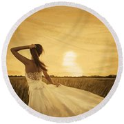 Bride In Yellow Field On Sunset  Round Beach Towel