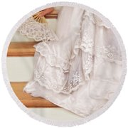 Bride Sitting On Stairs With Lace Fan Round Beach Towel