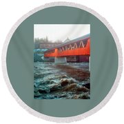 Bridge Across The Ammonoosuc River Round Beach Towel