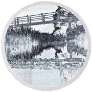 Bridge Across The River Round Beach Towel