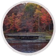 Bridge In Autumn Round Beach Towel