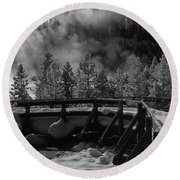Bridge In Mud Volcano Area Round Beach Towel
