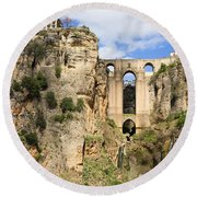 Bridge In Ronda Round Beach Towel