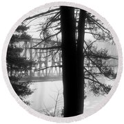 Bridge In The Fog Bw Round Beach Towel