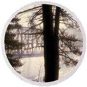 Bridge In The Fog Round Beach Towel
