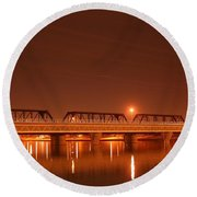 Bridge In The Mist Round Beach Towel