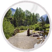 Bridge In Vail - Colorado Round Beach Towel