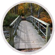 Bridge Into Autumn Round Beach Towel