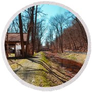 Bridge Number 2 Along The Delaware Canal Round Beach Towel