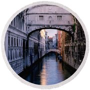 Bridge Of Sighs And Morning Colors In Venice Round Beach Towel