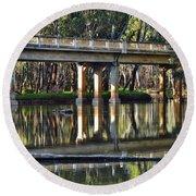 Bridge Over Ovens River 2 Round Beach Towel