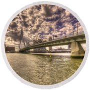 Bridge Over Rotterdam  Round Beach Towel