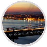 Bridge Over Tagus Round Beach Towel