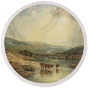 Bridge Over The Usk Round Beach Towel