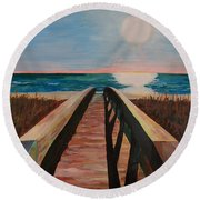 Bridge To Beach Round Beach Towel