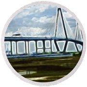 Bridge To Charleston Round Beach Towel